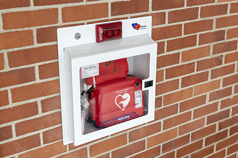 AED in brick wall