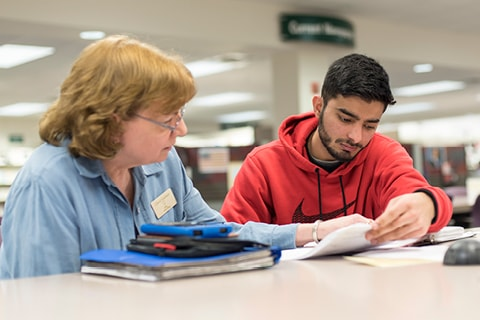 Student working with tutor