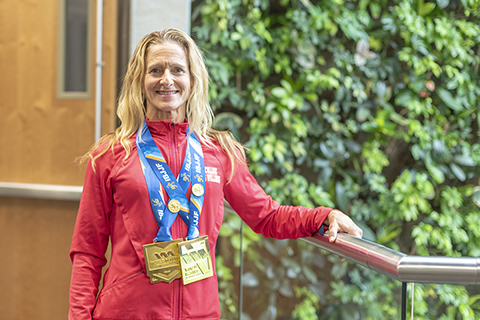 Peggy Barber wearing her medals