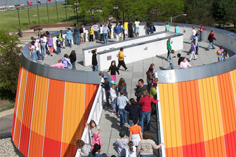 visitors on the planetarium roof top deck