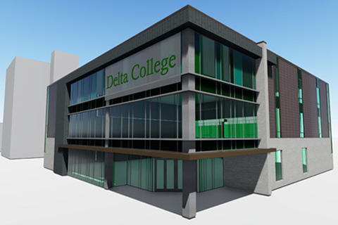 Rendering of proposed Delta College Saginaw Center