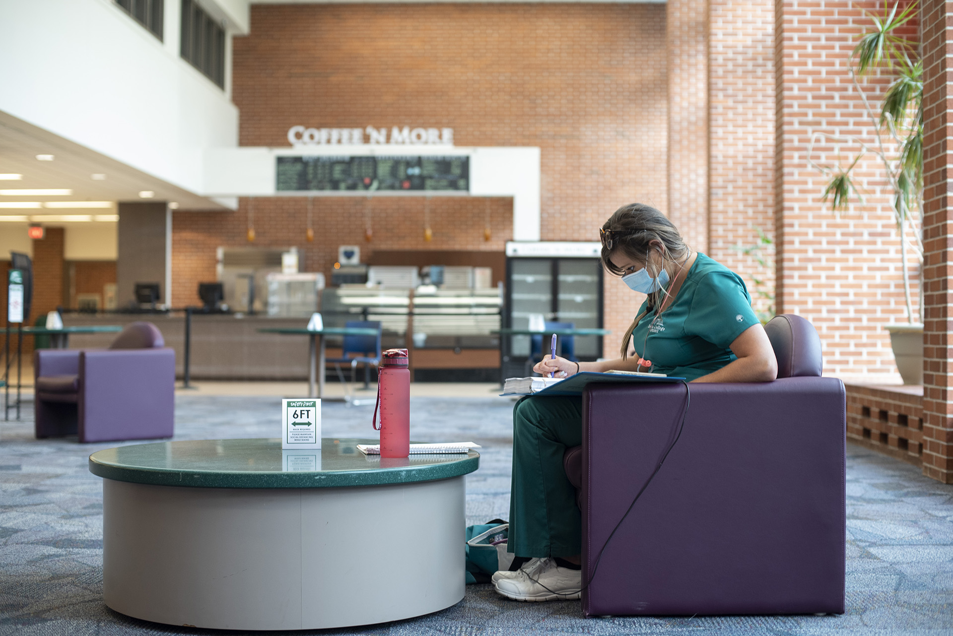 Across from the library, Founders Hall provides a space to take a break or study.