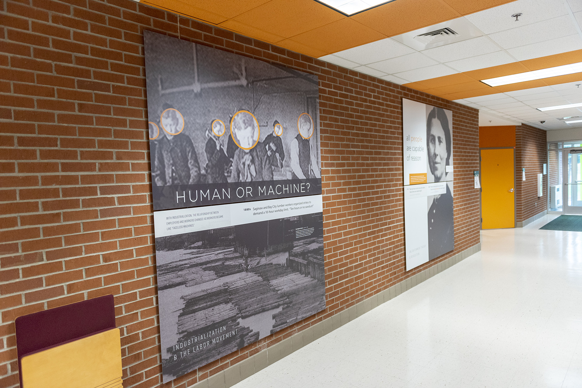 The J Wing hallway is sprinkled with historical facts and noteworthy information.