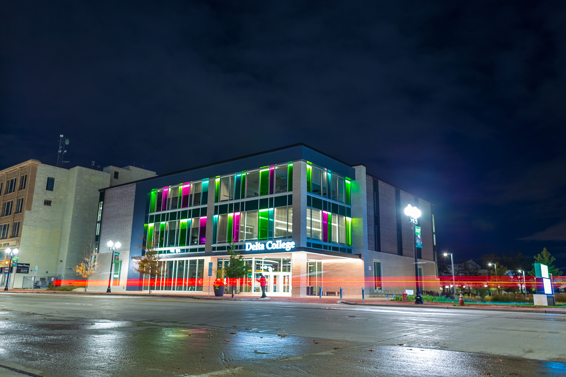 The Downtown Saginaw Center is a sight to see at night.
