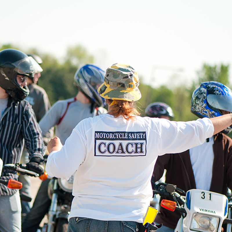 Motorcycle Safety Coach working with class.