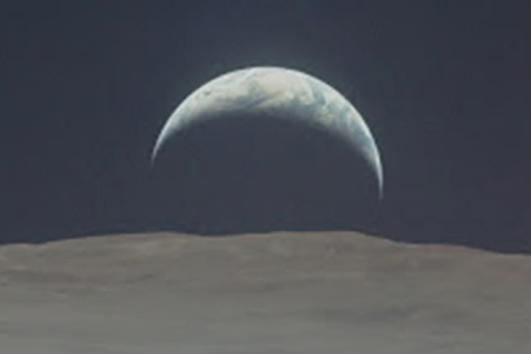 Earth Rising on the Moon