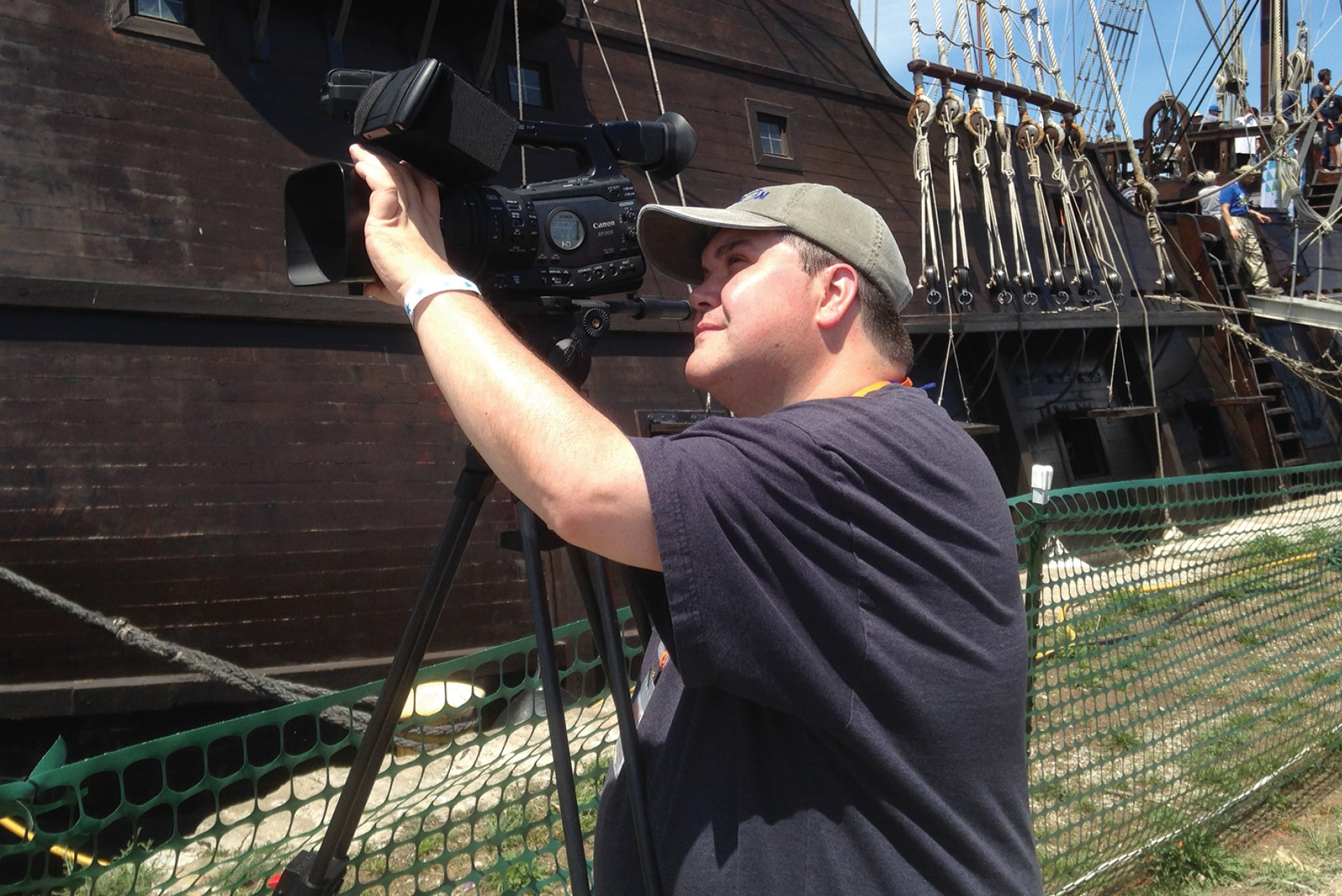 Broadcasting shooting on location at Tall Ships