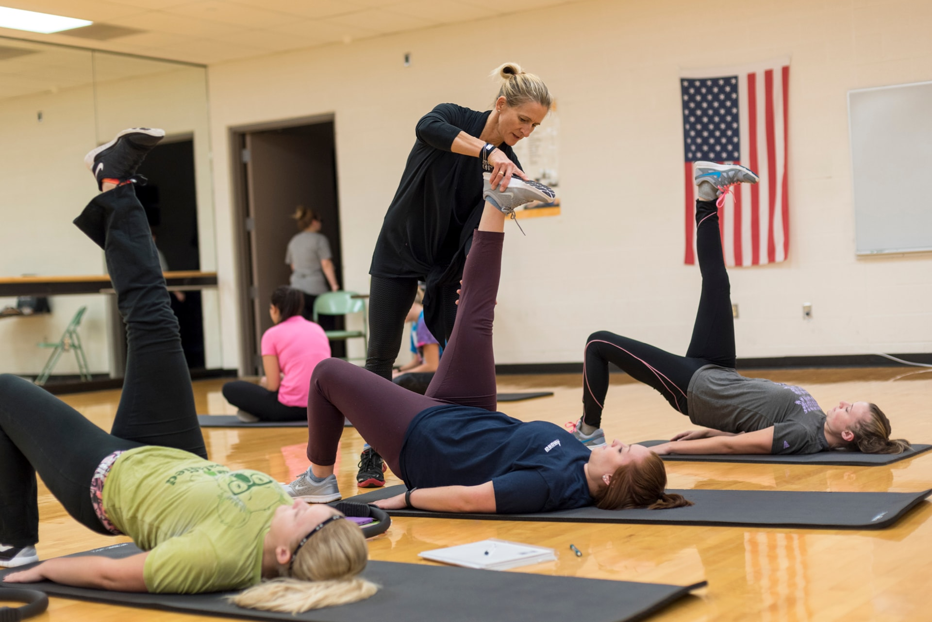 Instructor with Pilates students
