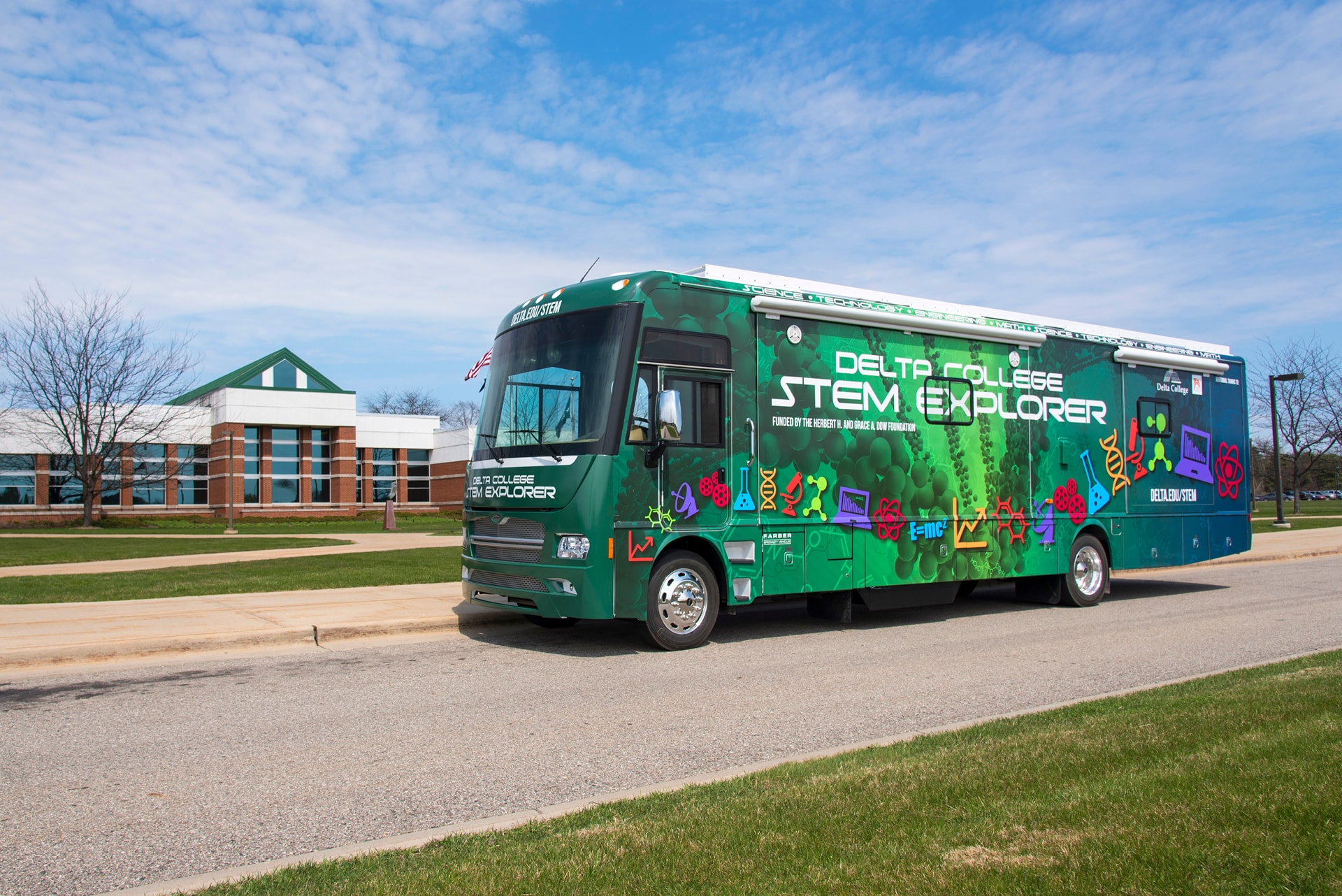 STEM Explorer parked in front of Delta Main Campus