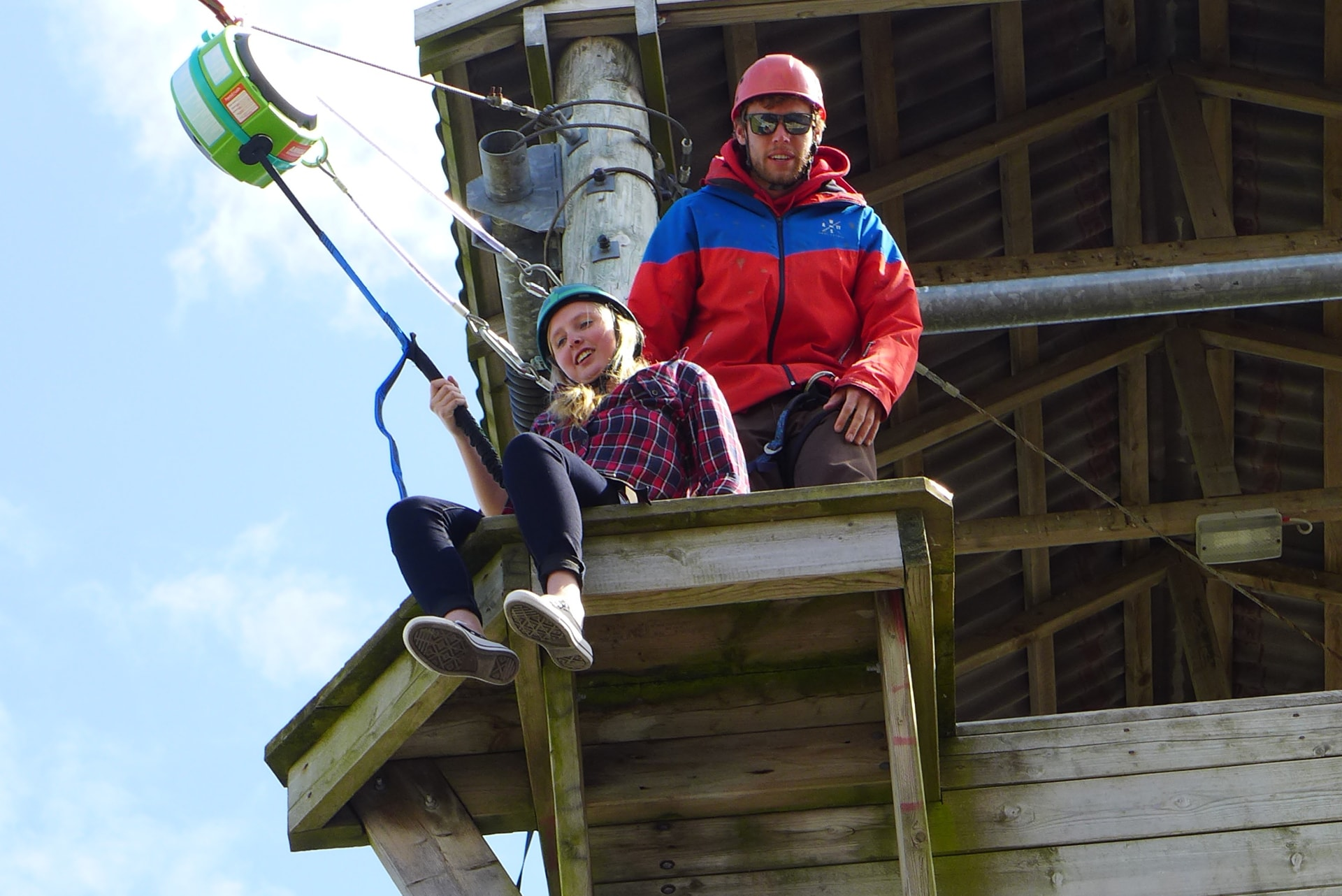 Student zip lining on study abroad trip
