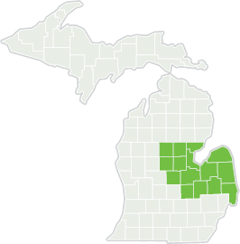 Map of Michigan with Delta College's region highlighted.